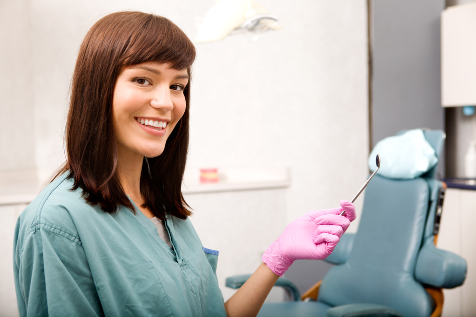 A woman dentist or dental hygienist portrait